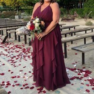 Chiffon Bridesmaid Dress with Cascading Skirt  WHI